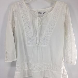 prana white blouse embroidered front 3/4 sleeve M